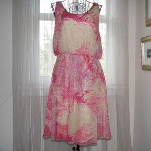 Anthropologie Postmark Rosy Plumes Dress